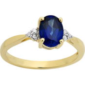 10K Gold Created Blue Sapphire Oval with Diamond Accents Ring