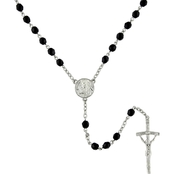 Symbols of Faith Silvertone and Black Bead Papal Rosary Necklace