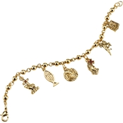 Symbols of Faith 14K Goldtone Religious Charm Bracelet
