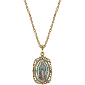 Symbols of Faith 14K Goldtone Enamel Lady of Guadalupe Medallion 24 in. Necklace