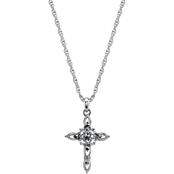 Symbols of Faith Silvertone Imitation Marcasite Cross Pendant