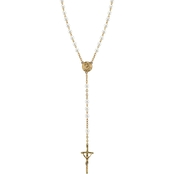 Symbols of Faith 14K Goldtone Simulated Pearl Papal Rosary Necklace