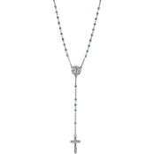 Symbols of Faith Silvertone Montana Blue Child's Communion Crucifix Rosary Necklace