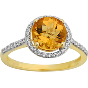 10K Yellow Gold Citrine with Created White Sapphire Ring