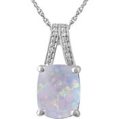 Sterling Silver Lab-Created Opal and Diamond Accent Pendant