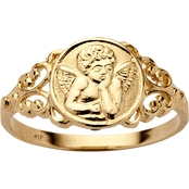 PalmBeach 10K Yellow Gold Guardian Angel Ring