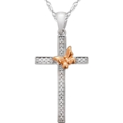 Sterling Silver Diamond Accent Cross Pendant With 18 In. Chain