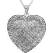 Sterling Silver 1/2 CTW Diamond Puffed Heart Pendant