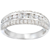 14K Gold 1 CTW Triple Row Diamond Band