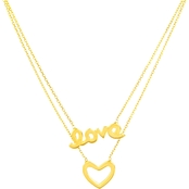 14K Yellow Gold Duo Love And Heart Necklace