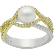 Imperial Two-Tone Sterling Silver Freshwater Cultured Pearl and Cubic Zirconia Ring