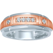 10K White and Rose Gold 1/4 Ct. CTW 6 Stone Diamond Wedding Band