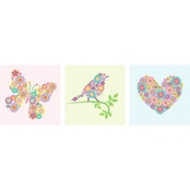Oopsy Daisy Too Heart Bird and Butterfly Wall Art 3 Pc. Set