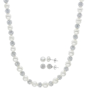 Imperial 18 in. Large Freshwater Cultured Pearl and Crystal Bead 3 pc. Set