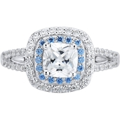 Sterling Silver White and Blue Cubic Zirconia Ladies Ring