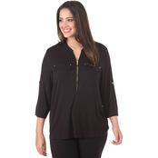 Calvin Klein Plus Size Zip Front Roll Sleeve Top