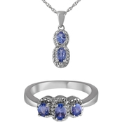 Tanzanite and Diamond Accent Pendant and Ring Set in Sterling Silver
