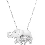 Sterling Silver Diamond Accent Elephant Pendant with 18 In. Chain