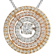 10K Tri Color Gold 1/2 CTW Diamond Pendant