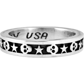 King Baby Sterling Silver Stars and Skulls Stackable Ring