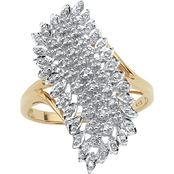 PalmBeach 10K Yellow Gold 1/7 CTW Round Diamond Cluster Ring