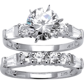 Palm Beach 10K White Gold Round Cubic Zirconia Bridal Ring Set