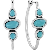 Lucky Brand Organic Shaped Turquoise Hoop Earrings