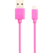 Powerzone 6 Ft. Micro USB Sync and Charge Cable, Pink