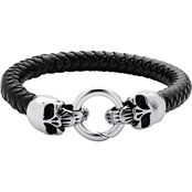 Palm Beach Jewelry Stainless Steel and Black Leather Leather Skull Bracelet