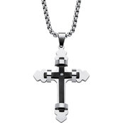 Palm Beach Jewelry Stainless Steel Cross Necklace Stainless Steel Chain 24 in.