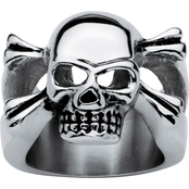 Palm Beach Jewelry Stainless Steel Skull and Crossbones Ring