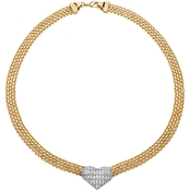PalmBeach Goldtone 5/8 CTW Diamond Accent Puffed Heart and Flat Chain Link Necklace