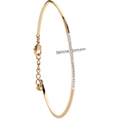 PalmBeach 18K Goldtone Pave Diamond Accent Horizontal Cross Bracelet