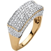 PalmBeach 18K Gold Over Sterling Silver 1/5 CTW Diamond Bar Ring with Square Back