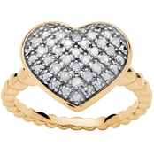 PalmBeach 18K Gold Over Sterling Silver 1/4 CTW Diamond Puffed Heart Ring