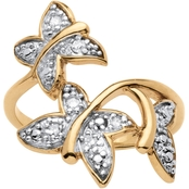 PalmBeach 18K Gold over Sterling Silver Diamond Accent Butterfly Ring