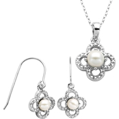 Rhodium over Sterling Silver White Pearl and Diamond Accent Earring and Pendant Set