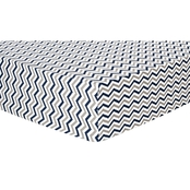 Trend Lab Navy And Gray Chevron Flannel Fitted Crib Sheet