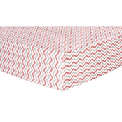 Trend Lab Coral And Gray Chevron Flannel Fitted Crib Sheet