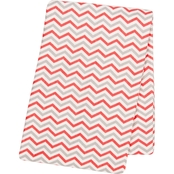 Trend Lab Coral and Gray Chevron Flannel Swaddle Blanket