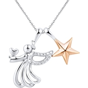 14K Pink Gold over Sterling Silver Diamond Accent Angel and Star Pendant