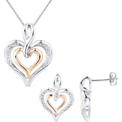 14K Rose Gold over Sterling Silver Diamond Heart Earring and Pendant Set