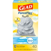 Glad Tall Kitchen Drawstring Fresh Clean Odor Shield 13 Gallon Trash Bags 40 Pk.