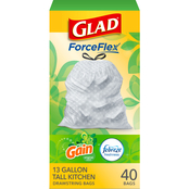 Glad Tall Kitchen Drawstring Gain Original Odor Shield 13 Gallon Trash Bags 40 Pk.
