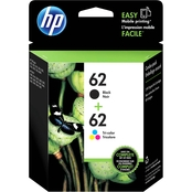 HP 62 Black and Tri-Color Ink Cartridge Combo Pack
