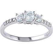 Sofia B. 10K White Gold 0.04 Ct. Diamond and 1/2 Ct. CTW Aquamarine 3 Stone Ring