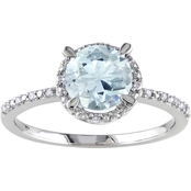 Silver 0.05 Ct. Diamond & 1-1/7 Ct. CTW Aquamarine Fashion Ring