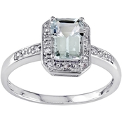 Sofia B. 10K White Gold 0.06 Ct. Diamond and 1 Ct. CTW Aquamarine Fashion Ring
