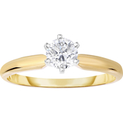 14K Gold 1/2 Ct. Round Solitaire Ring