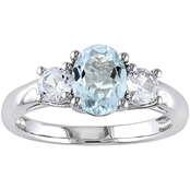 Sofia B. Silver 1-5/8 Ct. CTW Aquamarine Lab Created White Sapphire Fashion Ring